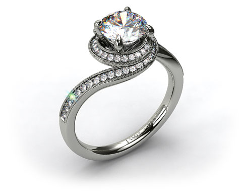 18k White Gold Enclosed Pave Halo